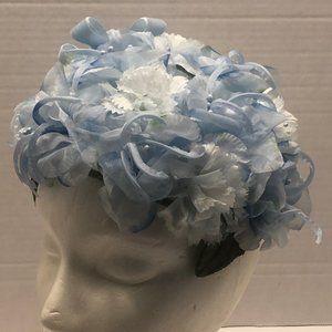 Vintage Lite Blue Floral Button Style Hat